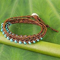 Calcite and leather braided wrap bracelet, 'Aqua Bright' - Artisan Crafted Leather and Calcite Braided Wrap Bracelet