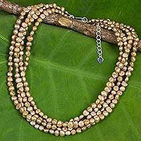 Cultured freshwater pearl strand necklace, 'Luminous Sands' - Thai Four-Strand Cultured Pearl Necklace in Light Brown