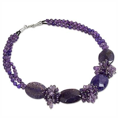 Beaded Thai Amethyst Statement Necklace Crafted by Hand
