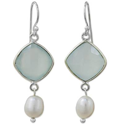 Hand Crafted Chalcedony and Cultured Pearl Dangle Earrings