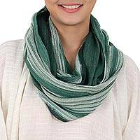 Cotton infinity scarf, 'Forest Flora' - Hand Woven Green and White 100% Cotton Infinity Scarf