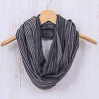Cotton infinity scarf, 'Smoke' - Hand Woven 100% Cotton Infinity Scarf in Black and White