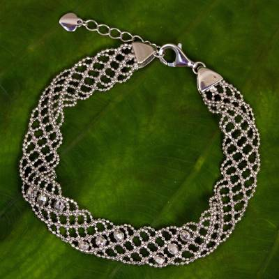 Sterling silver chain bracelet, 'Braided Lace' - Sterling Silver Five-Strand Braid Bracelet