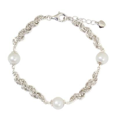 Thai Handcrafted Cultured Pearl and Sterling Silver Bracelet