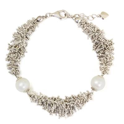 Handcrafted Thai Sterling Silver Bracelet & Cultured Pearls