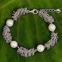 Cultured pearl beaded bracelet, 'Coral Reef Treasures' - WHite Pearl and Sterling Silver Handcrafted Bracelet