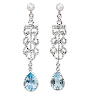 Artisan Crafted Silver and Blue Topaz Dangle Earrings