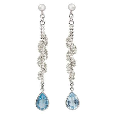 Sterling Silver Ball Chain and Blue Topaz Dangle Earrings