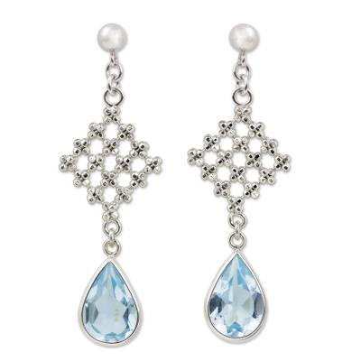 Handcrafted Blue Topaz Floral Earrings in Silver