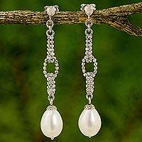 Cultured pearl dangle earrings, 'Moonlight Chandeliers' - Cultured Freshwater Pearl Chandelier Earrings from Thailand