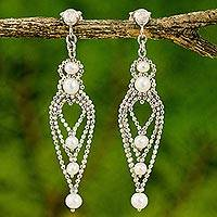 Cultured pearl chandelier earrings, 'Droplet Chandeliers' - Handcrafted Cultured Pearl Chandelier Earrings from Thailand