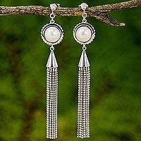 Cultured pearl waterfall earrings, 'Rainfall Chandeliers' - Cultured Pearl Handcrafted  Waterfall Earrings from Thailand