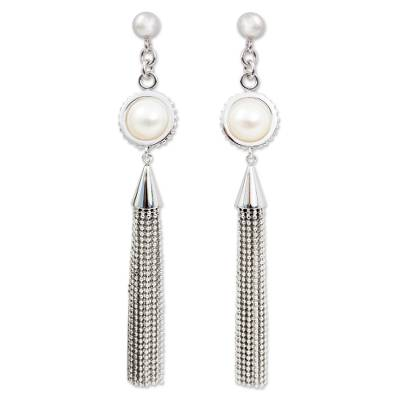 Cultured Pearl Handcrafted Waterfall Earrings from Thailand