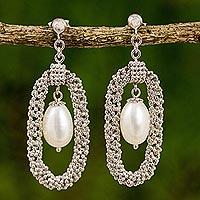 Cultured pearl chandelier earrings,
