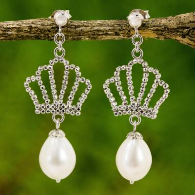 Cultured pearl chandelier earrings, 'Crown Chandeliers' - Cultured Pearl Crown Chandelier Earrings from Thailand