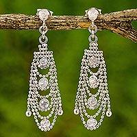 Sterling silver chandelier earrings, 'Glistening Chandeliers' - Cubic Zirconia Chandelier Post Earrings from Thailand