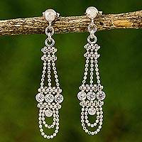 Cubic zirconia chandelier earrings, 'Dangling Chandeliers' - Cubic Zirconia Chandelier Post Earrings from Thailand