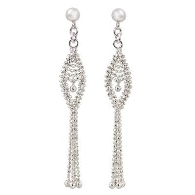 Sterling Silver Beaded Waterfall Earrings from Thailand