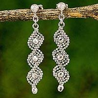 Sterling silver dangle earrings, 'Beaded Helix Chandeliers' (Thailand)