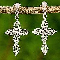 Sterling silver dangle earrings, 'Dazzling Crosses' - Cross Theme Sterling Silver Dangle Earrings from Thailand