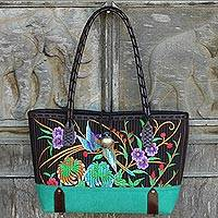 Cotton shoulder bag, 'Mandarin Tropical in Green' - 100% Cotton Floral Embroidered Shoulder Bag from Thailand