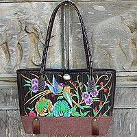 Cotton shoulder bag, 'Mandarin Tropical in Brown' - Cotton Floral Embroidered Shoulder Bag with Leather Accents