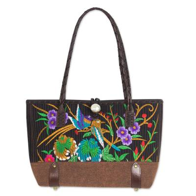 Cotton Floral Embroidered Shoulder Bag with Leather Accents