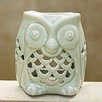Ceramic oil warmer, 'Cozy Owl in Green' - Artisan Crafted Ceramic Owl Oil Warmer from Thailand