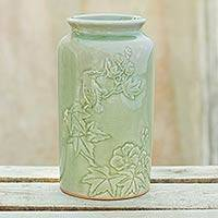 Celadon ceramic vase, 'Natural Glory' - Artisan Crafted Nature Inspired Green Ceramic Vase