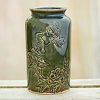 Ceramic vase, 'Peaceful' - Handmade Green Ceramic Vase with Bird Motif from Thailand