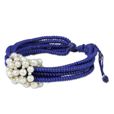 Royal Blue Thai Wristband Bracelet with Cultured Pearls