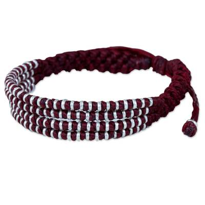 Burgundy Macrame Wristband Bracelet with Silver 950 Beads