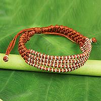 Silver accent wristband bracelet, 'Ginger Chiang Mai Quartet - Ginger-Orange Macrame Bracelet with Hill Tribe Silver Beads