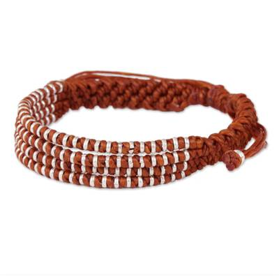 Ginger-Orange Macrame Bracelet with Hill Tribe Silver Beads