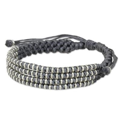 Handmade Fine Silver Beaded Gray Macrame Wristband Bracelet