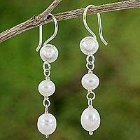 Cultured pearl and sterling silver dangle earrings, 'Pearl Cascade' - Artisan Crafted Sterling Silver and Cultured Pearl Earrings