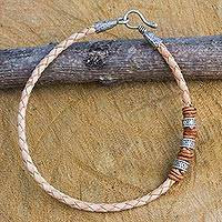 Men's braided leather bracelet, 'Walk the Beige Path' - Braided Beige Leather Men's Bracelet with Hill Tribe Silver