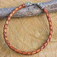 Men's braided leather bracelet, 'Russet Rhythm' - Men's Russet Brown Leather Bracelet with Hill Tribe Silver