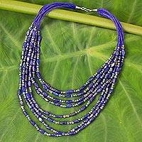 Lapis lazuli beaded strand necklace, 'Deep Blue Sky' - Hand Crafted Lapis Lazuli Beaded Strand Necklace