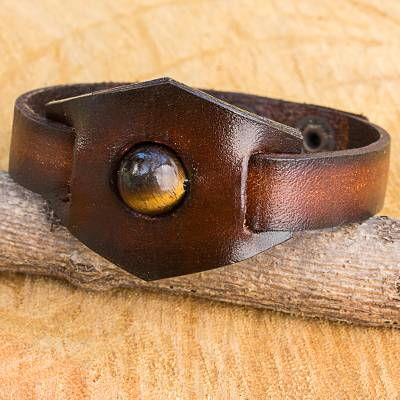 Tiger's eye and leather band band bracelet, 'Earthy Essence' - Artisan Crafted Tiger's Eye and Leather Band Bracelet