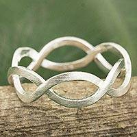 Sterling silver band ring, 'In a Relationship' - Thai Artisan Crafted Brushed Silver Band Ring