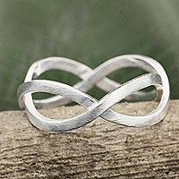 Sterling silver band ring, 'Union of Two' - Geometric Band Ring Handcrafted in Brushed Sterling Silver