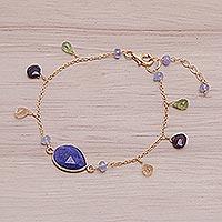 Gold plated lapis lazuli pendant bracelet, 'Lush Garden' - Gold Plated Sterling Silver Lapis Lazuli Bracelet Thailand