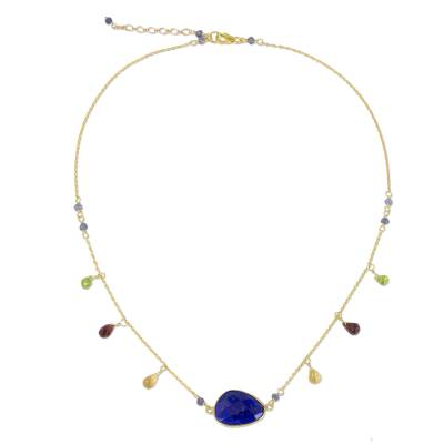 Gold Plated Sterling Silver Lapis Lazuli Necklace Thailand