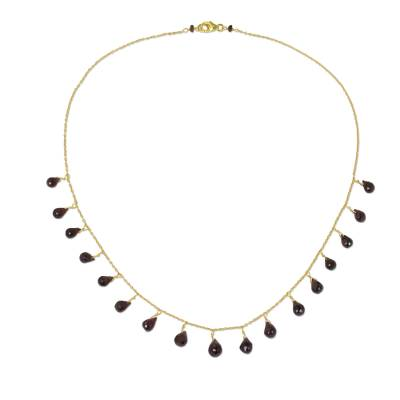 Garnet Pendant Gold Plated Necklace Handmade in Thailand