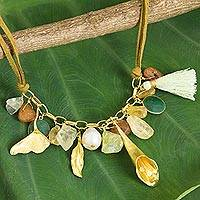 Gold-plated multi-gemstone pendant necklace, 'Forest Dance' - Handmade Gold Plate Necklace Quartz Carnelian Pearl Prehnite