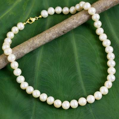 Cultured pearl strand necklace, 'Jasmine Glow' - Cultured Freshwater Pearls 18k Gold Plated Necklace Thailand