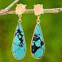 Gold plated rose quartz dangle earrings, 'Blue Drops' - 18k Gold Rose Quartz and Dyed Blue Howlite Dangle Earrings
