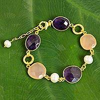18k gold plated amethyst, rose quartz and cultured pearl link bracelet,