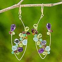 Gold plated multi-gemstone dangle earrings, 'Spring Vine' - 18k Amethyst Peridot Garnet Topaz Carnelian Dangle Earrings